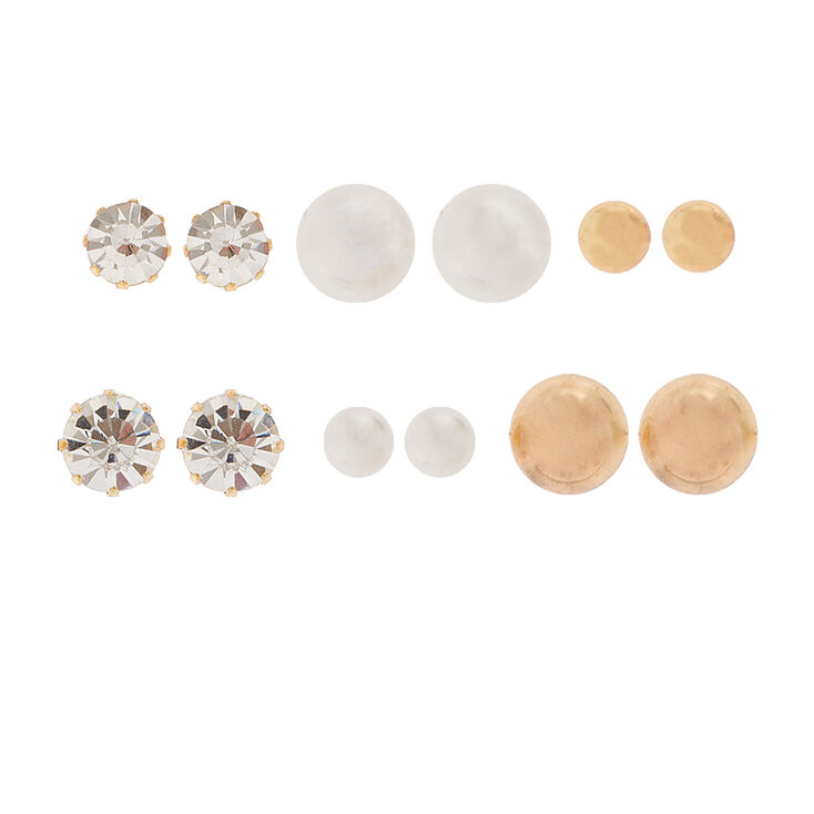 Graduated Crystal, Pearl & Gold Ball Stud Earrings Set of 6,
