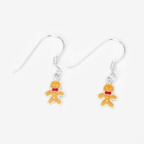 """Silver 1.5"""" Gingerbread Man Drop Earrings,"""