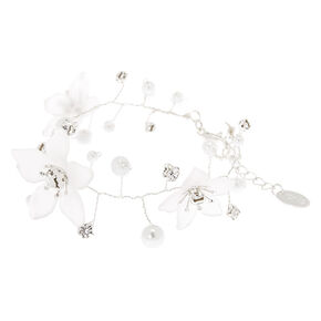 Silver Frosted Flower Statement Bracelet,