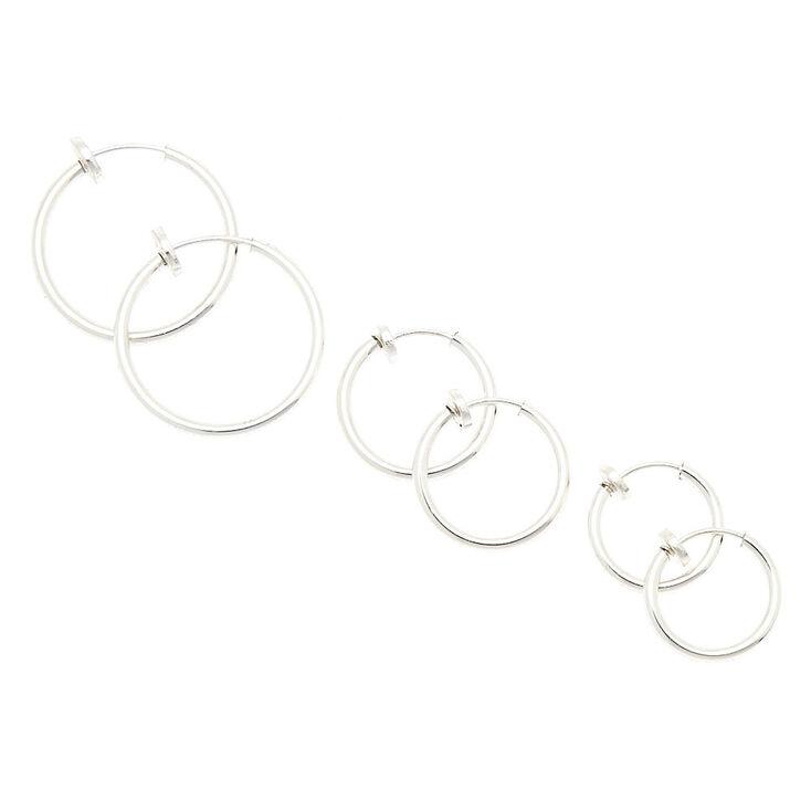 Silver Graduated Clip On Hoop Earrings - 3 Pack,