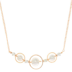 Rose Gold Pearl Orbit Statement Necklace,