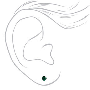 Sterling Silver Red & Green Stud Earrings - 3 Pack,