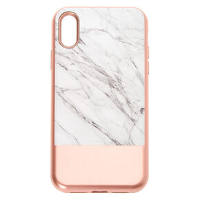 Rose Gold and Marble Protective Phone Case - Fits iPhone XR,