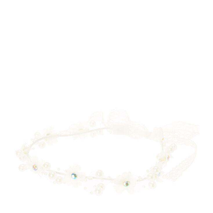 Flower & Pearl Garland Headwrap,