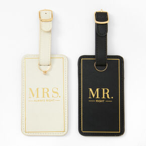 Mr. Right & Mrs. Always Right Luggage Tags - Black & White,