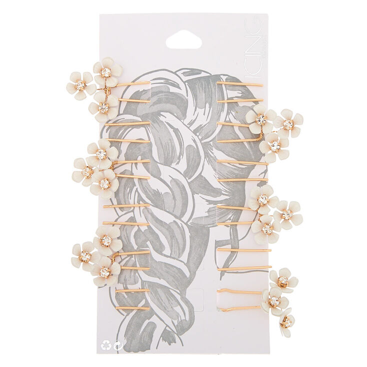 Rose Gold Daisy Hair Pins - White, 6 Pack,