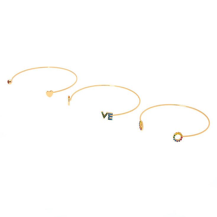 Gold Rainbow Love Cuff Bracelets - 3 Pack,