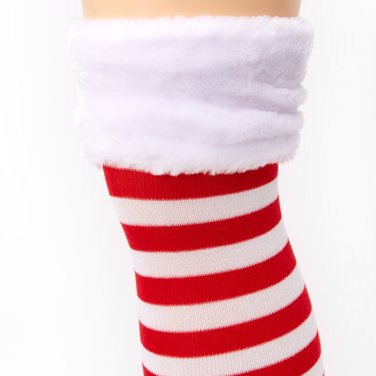 Red & White Striped Over the Knee Socks,