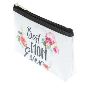 Best Mom Ever Floral Makeup Bag - White,
