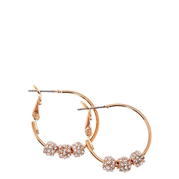 Rose Gold Tone Fireball Beas Hoop Earrings,