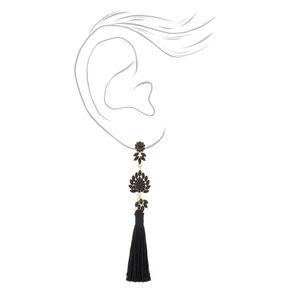 "5"" Embellished Tassel Earrings - Black,"