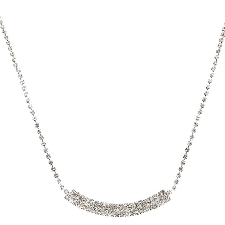 Faux Crystal Curved Rectangular Bar Pendant Necklace,