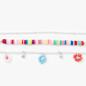 Silver Rainbow Disc & Flower Choker Necklaces - 3 Pack,