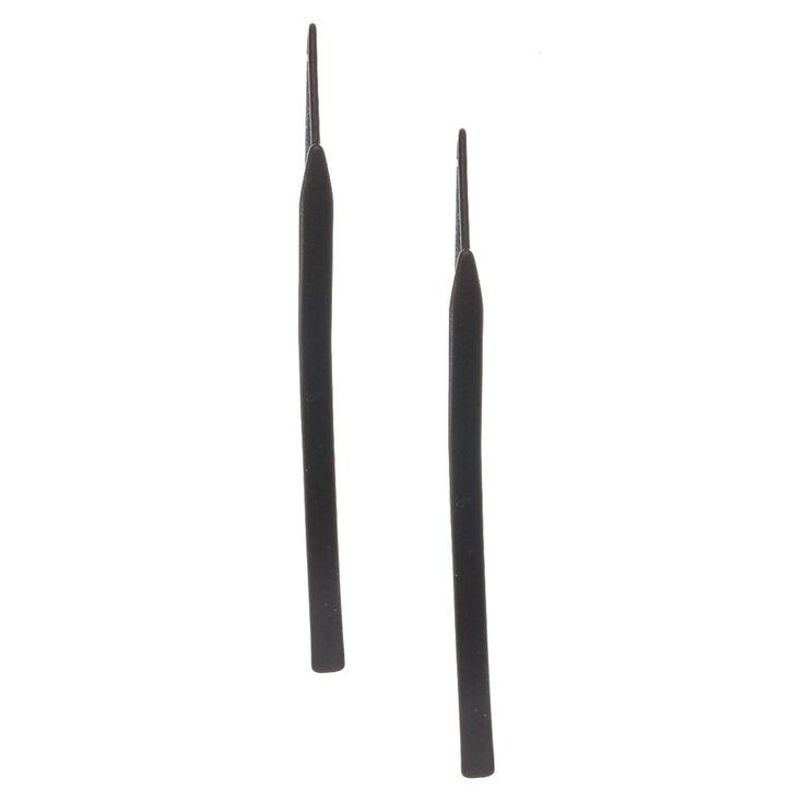 Black Tone Curved Bar Drop Earrings,