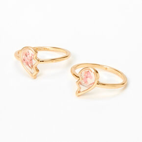 Gold Broken Heart Floral Rings - Pink, 2 Pack,