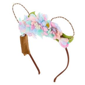 Light Up Bear Ears Flower Crown Headband,
