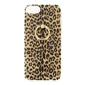 Gold Glitter Leopard with Ring Holder Phone Case,