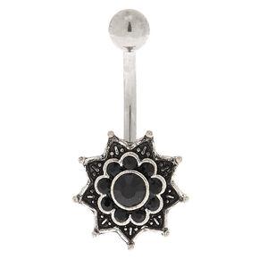 Silver 14G Mandala Stone Belly Ring - Black,