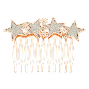 Rose Gold Glitter Star Hair Comb,