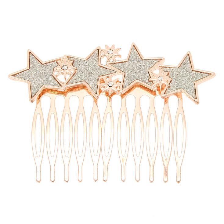 Rose Gold Glitter Star Hair Comb,