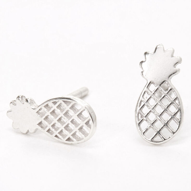 Sterling Silver Pineapple Stud Earrings,