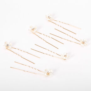 Pearlescent Rhinestone Flower Hair Pins - 6 Pack,