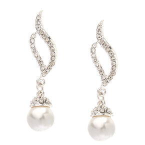 "Silver Pearl & Rhinestone 1"" Drop Earrings,"