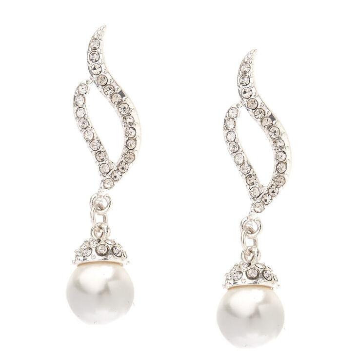 """Silver Pearl & Rhinestone 1"""" Drop Earrings,"""