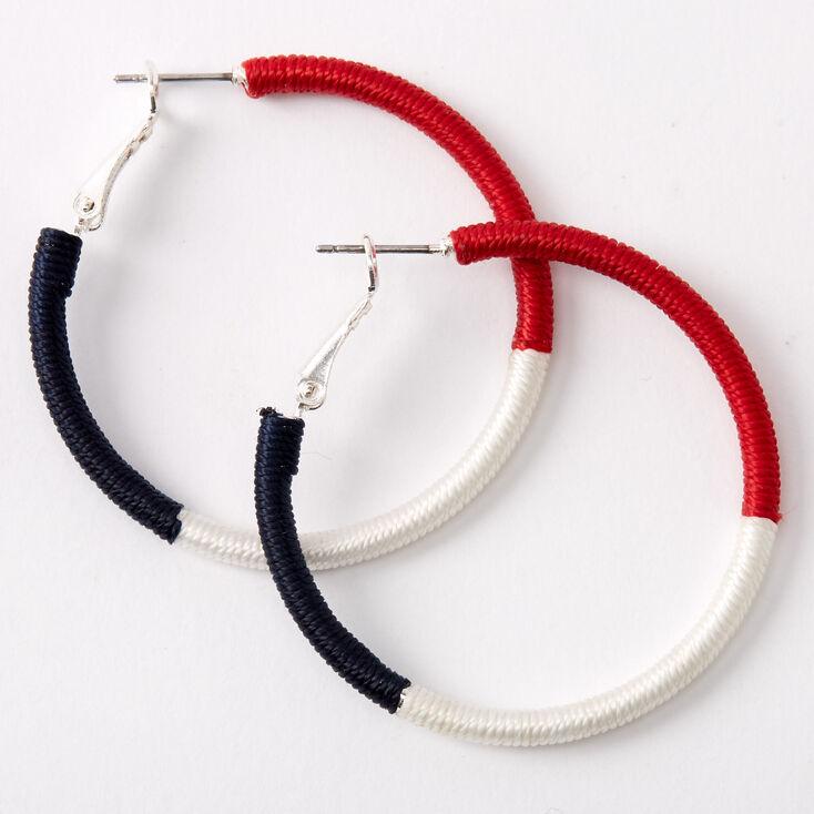 Red White & Blue Wrapped Hoop Earrings,