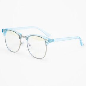 Blue Light Reducing Round Browline Clear Lens Frames - Blue,