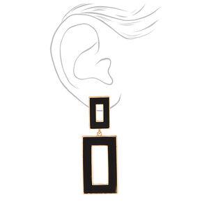 Gold Double Rectangle Enamel Drop Earrings - Black,