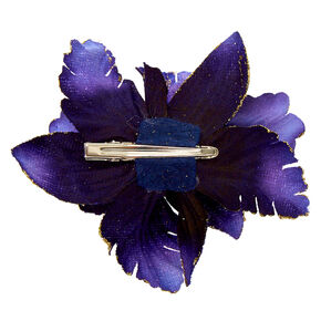 Velvet Glitter Flower Hair Clip - Navy,