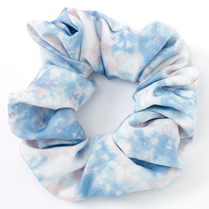 Medium Chiffon Tie Dye Hair Scrunchie - Gray,