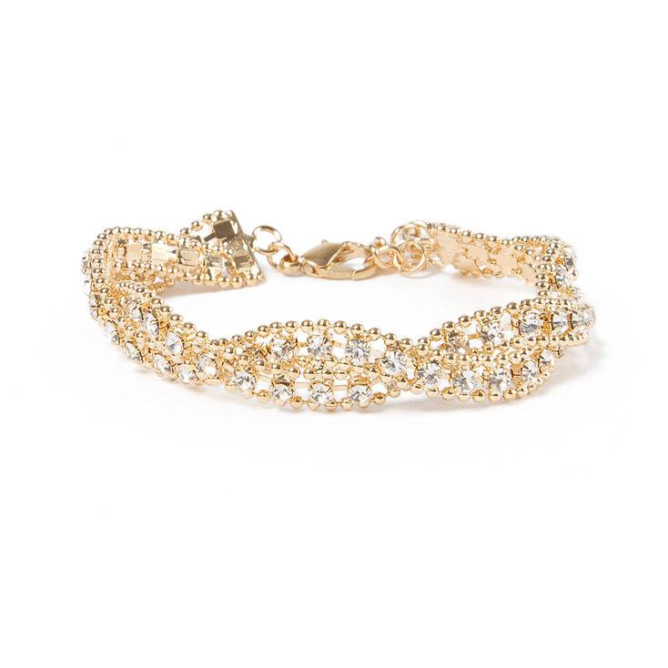 Rhinestone & Beaded Metal Chain Twist Bracelet,