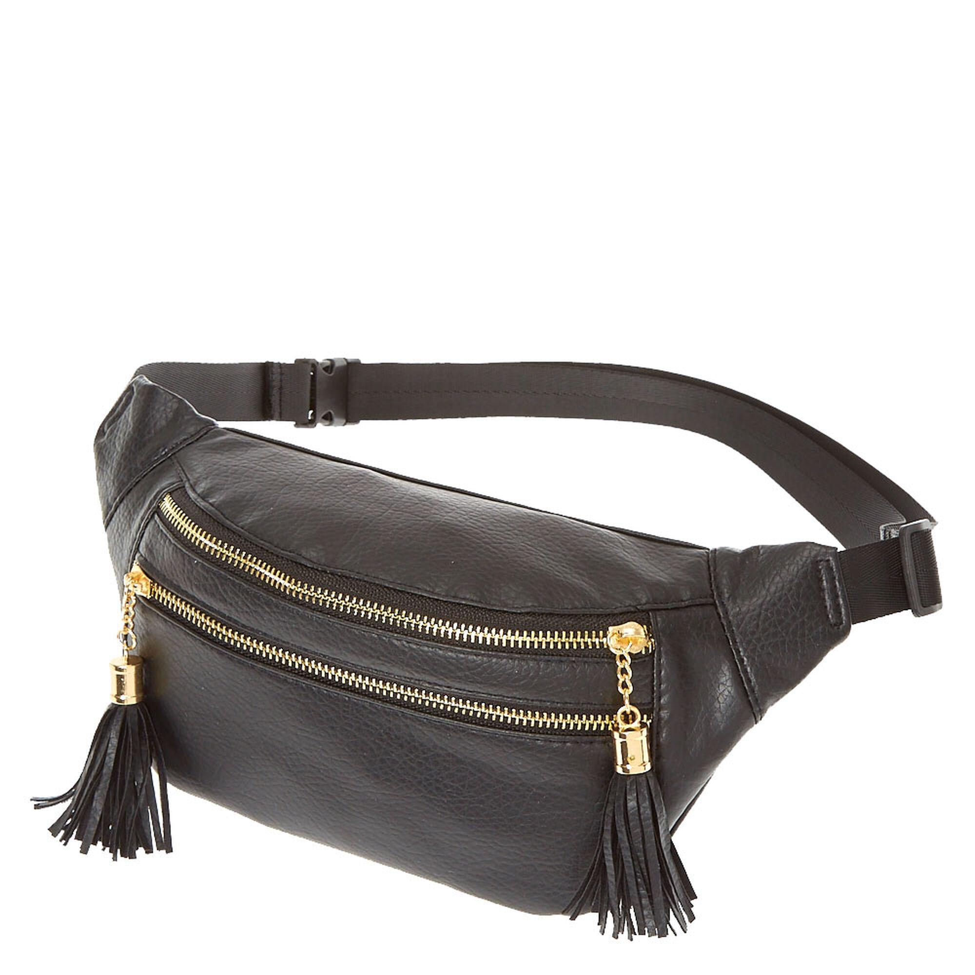 ed8f10d7205c Black Faux Leather Fanny Pack
