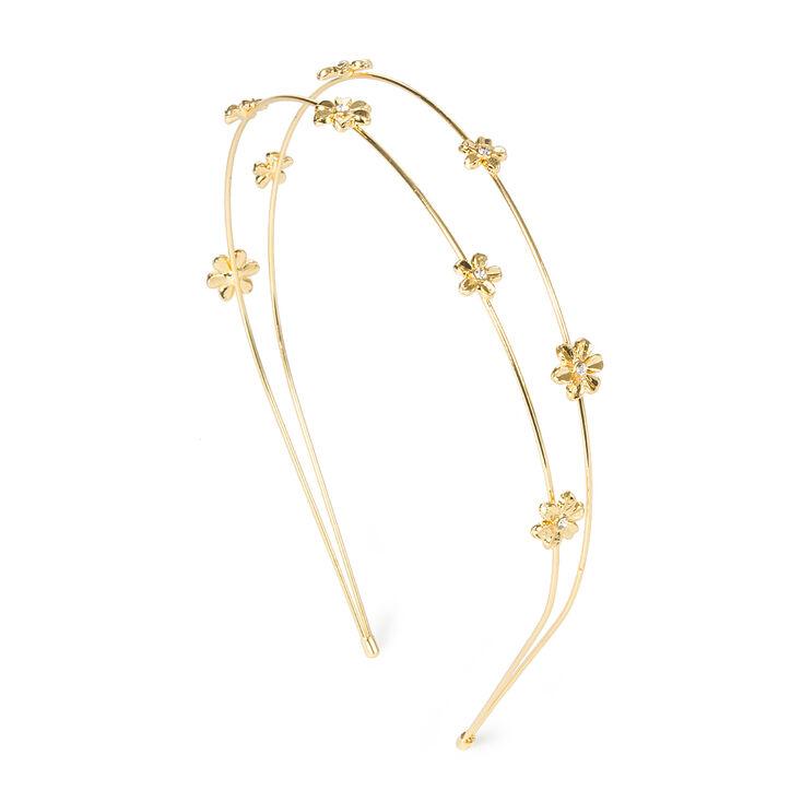 Gold Double Row Daisies Headband,