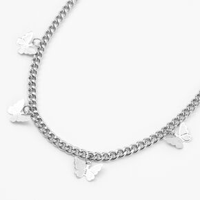 Silver Butterfly Charm Chain Necklace,