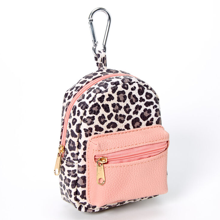 Blush Leopard Mini Backpack Keychain,