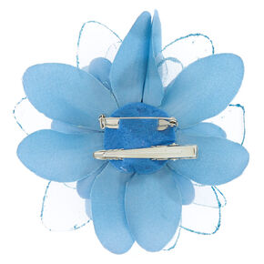 Double Lily Hair Flower Clip - Baby Blue,