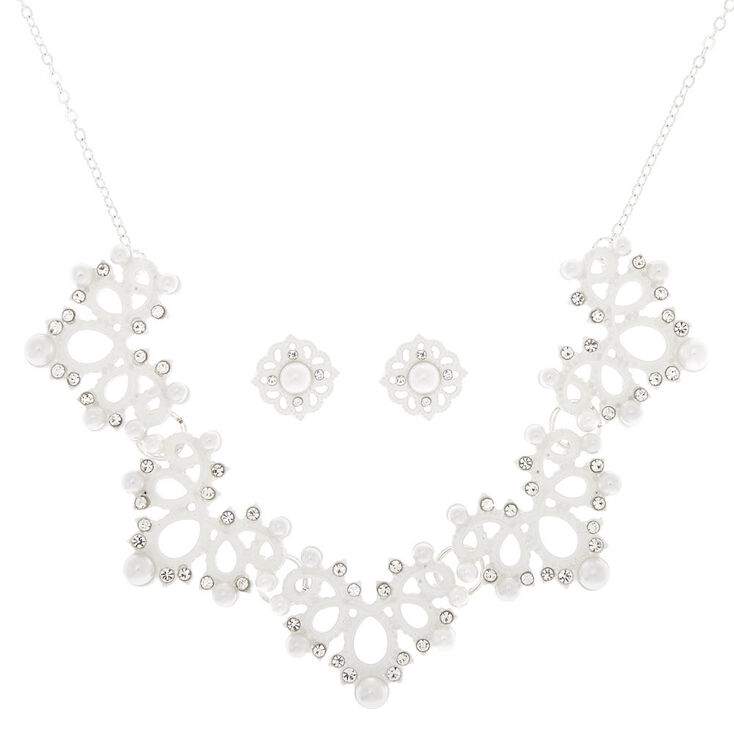 Crochet Pearl Jewelry Set - White, 2 Pack,