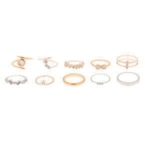 Mixed Metal Stone Rings - 10 Pack,