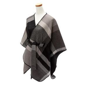 Plaid Sweater Poncho - Black,