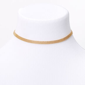 Gold Multi Row Ball Chain Choker Necklace,