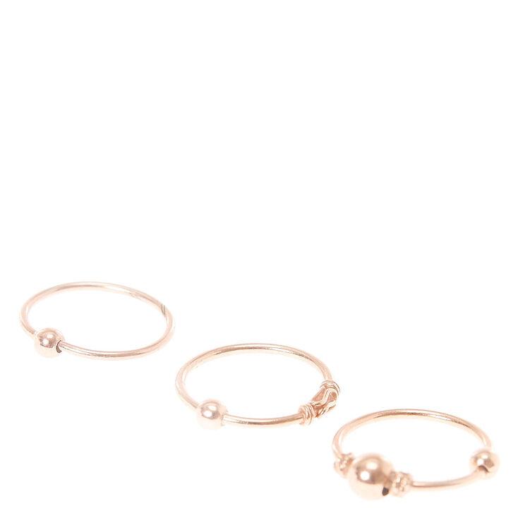 Rose Gold Sterling Silver Cartilage Hoop Set,