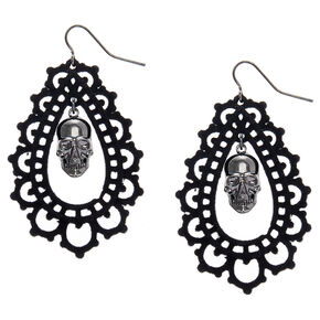 "2"" Lace Skull Drop Earrings - Black,"