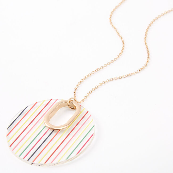 Gold Rainbow Striped Open Circle Long Pendant Necklace,
