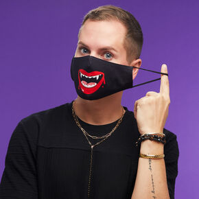 Cotton Black Vampire Face Mask - Adult,