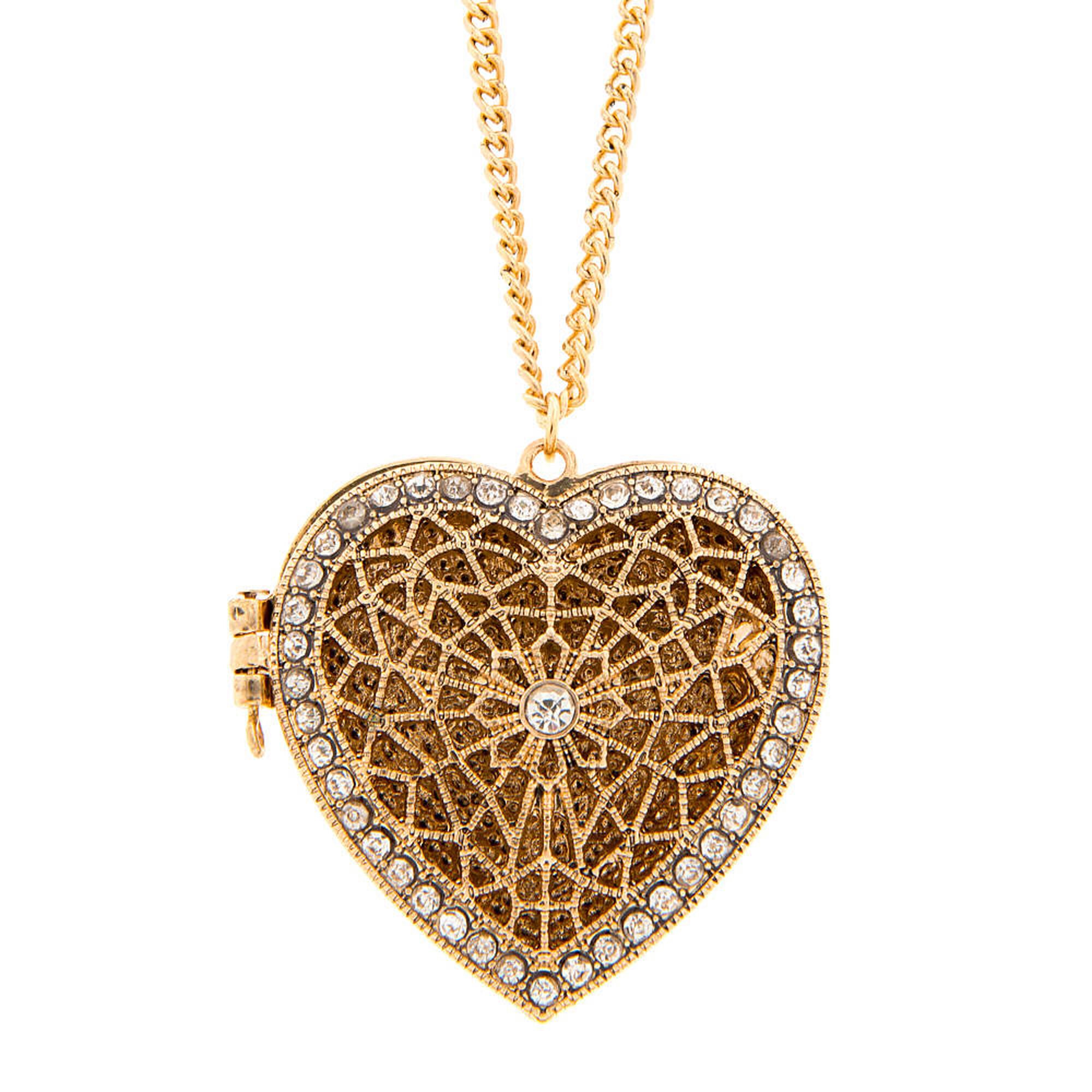 accent gold crystal us necklace pendant antique locket heart filigree
