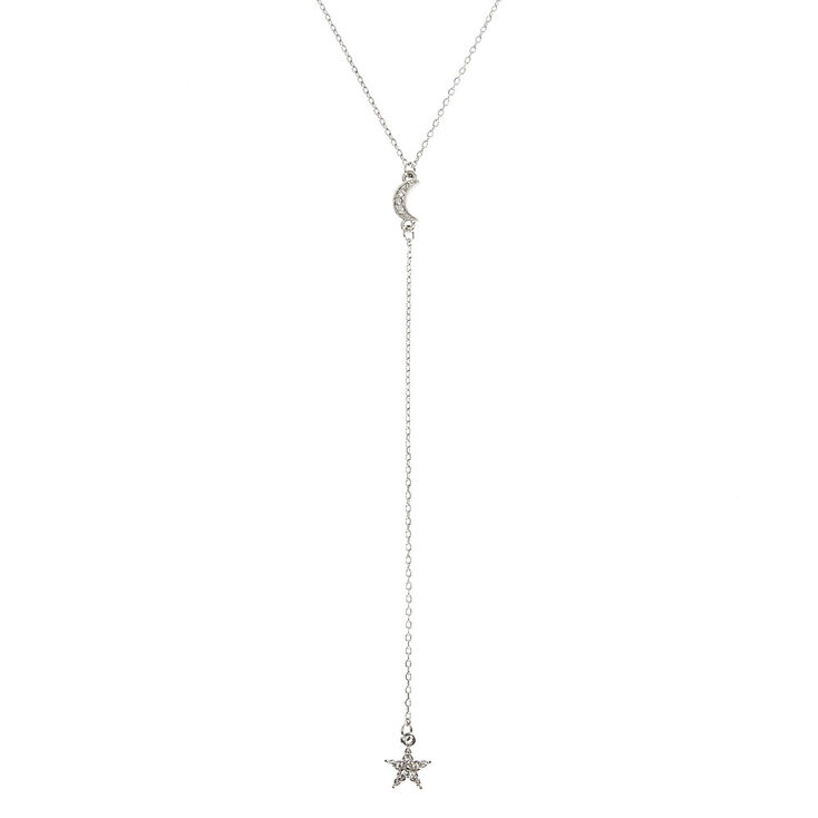 Silver Tone Celestial Pendant Y Necklace,