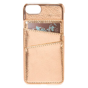 Rose Gold-Tone Card Holder Phone Case,